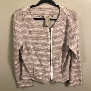 Dolan exposed zipper striped cardigan size large